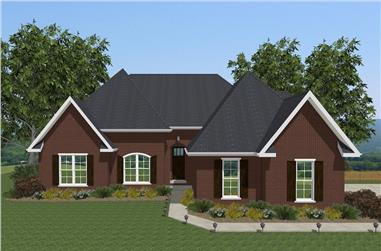 Front elevation of European home (ThePlanCollection: House Plan #203-1012)
