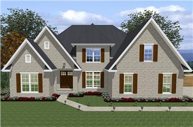 Front elevation of European home (ThePlanCollection: House Plan #203-1013)