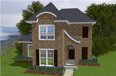 Front elevation of European home (ThePlanCollection: House Plan #203-1014)