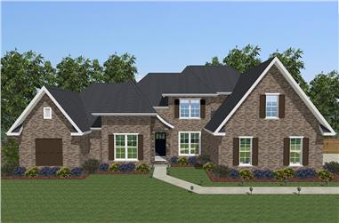 Front elevation of European home (ThePlanCollection: House Plan #203-1015)
