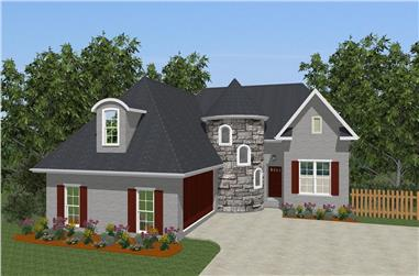 Front elevation of European home (ThePlanCollection: House Plan #203-1016)