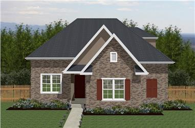 Front elevation of Texas Style home (ThePlanCollection: House Plan #203-1017)