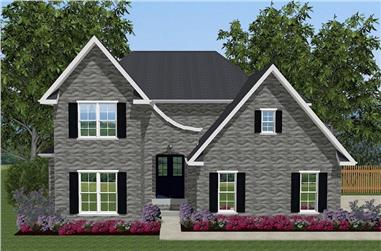 Front elevation of European home (ThePlanCollection: House Plan #203-1018)