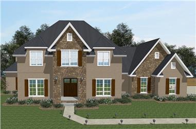 Front elevation of European home (ThePlanCollection: House Plan #203-1019)