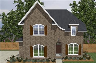 Front elevation of European home (ThePlanCollection: House Plan #203-1020)