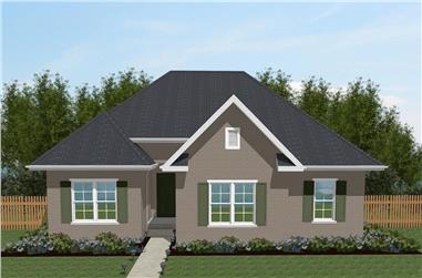 Front elevation of Texas Style home (ThePlanCollection: House Plan #203-1022)