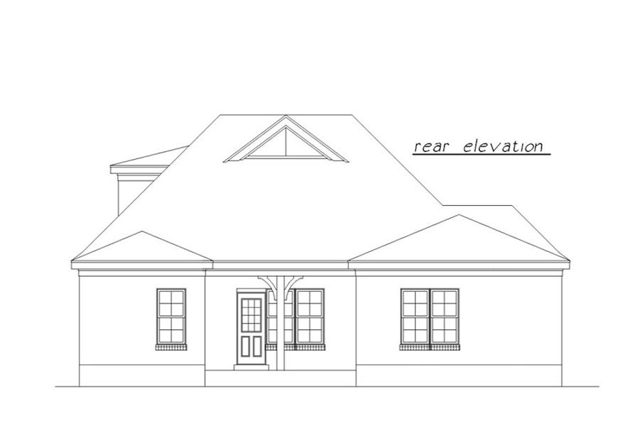 Home Plan Rear Elevation of this 3-Bedroom,1639 Sq Ft Plan -203-1023