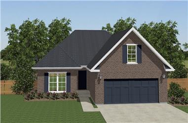 Front elevation of Texas Style home (ThePlanCollection: House Plan #203-1023)