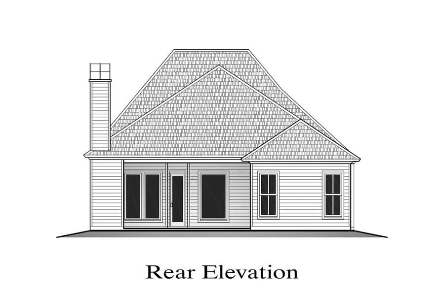 Home Plan Rear Elevation of this 3-Bedroom,1778 Sq Ft Plan -204-1001