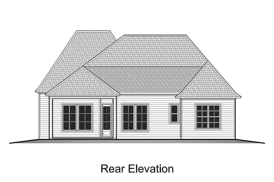 Home Plan Rear Elevation of this 4-Bedroom,1793 Sq Ft Plan -204-1002