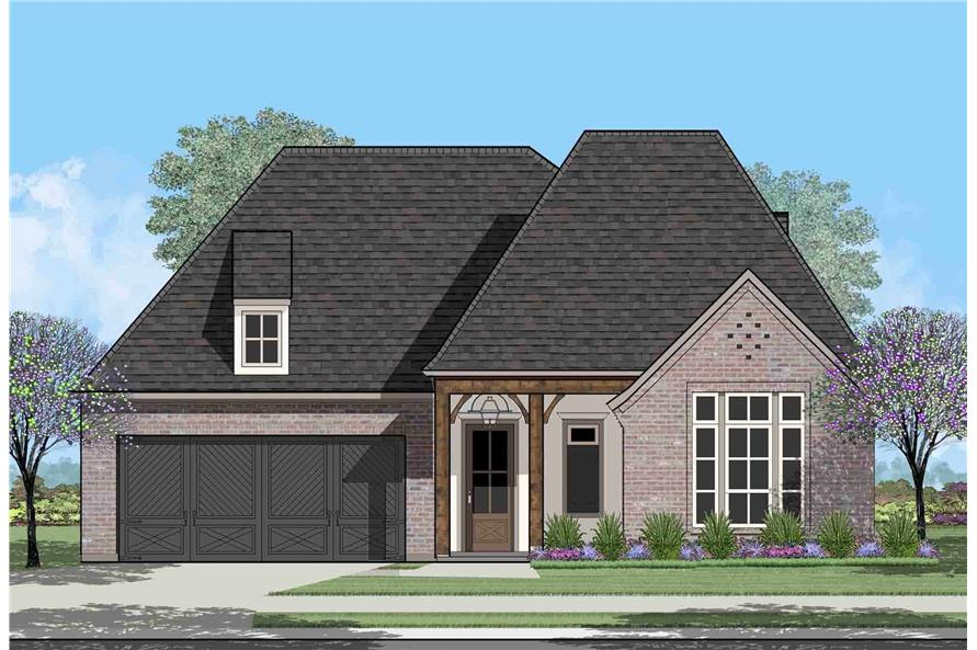 204-1002: Home Plan Rendering-Front View