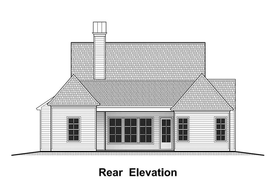 Home Plan Rear Elevation of this 4-Bedroom,1823 Sq Ft Plan -204-1004