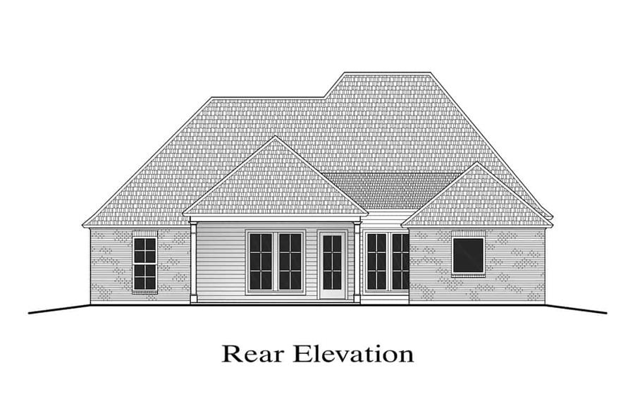 Home Plan Rear Elevation of this 4-Bedroom,2073 Sq Ft Plan -204-1007