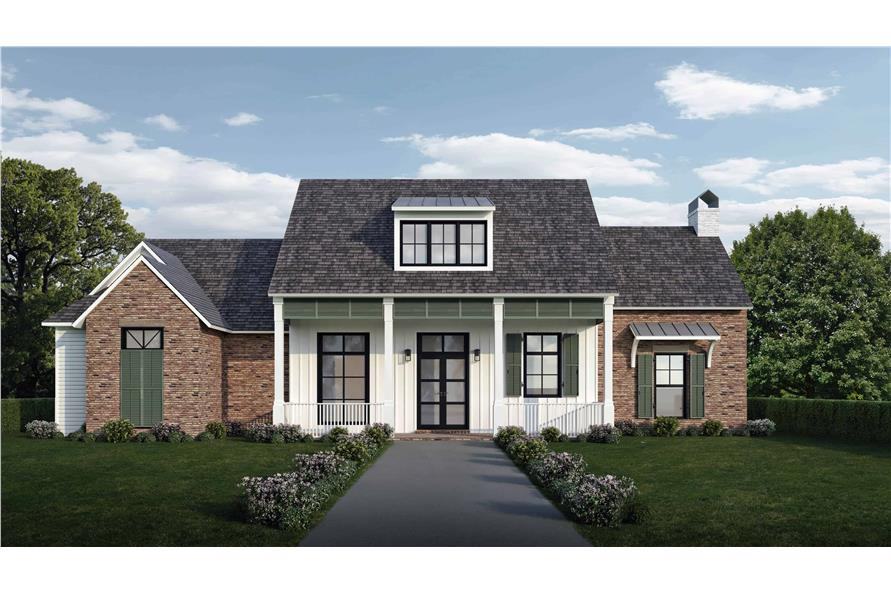 204-1009: Home Plan Rendering-Front View