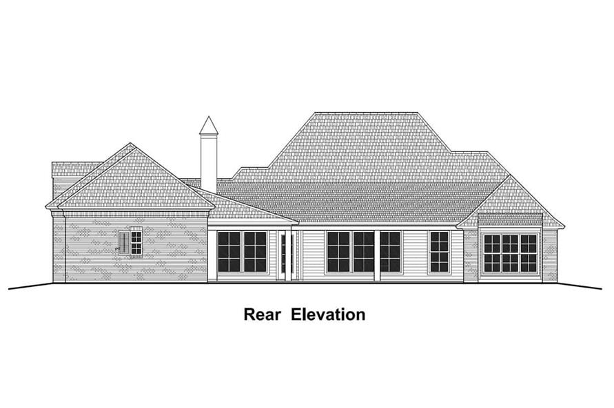 Home Plan Rear Elevation of this 4-Bedroom,3274 Sq Ft Plan -204-1012