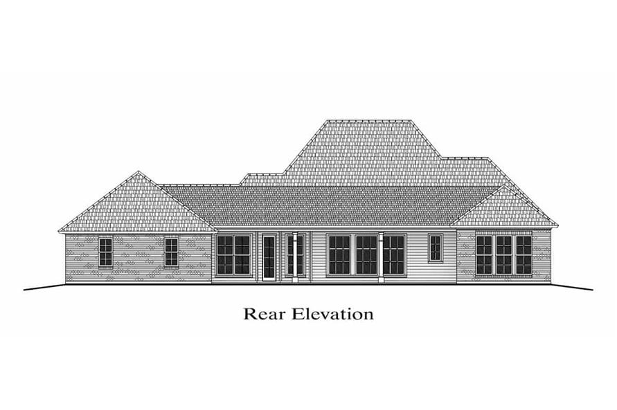 Home Plan Rear Elevation of this 4-Bedroom,2800 Sq Ft Plan -204-1013