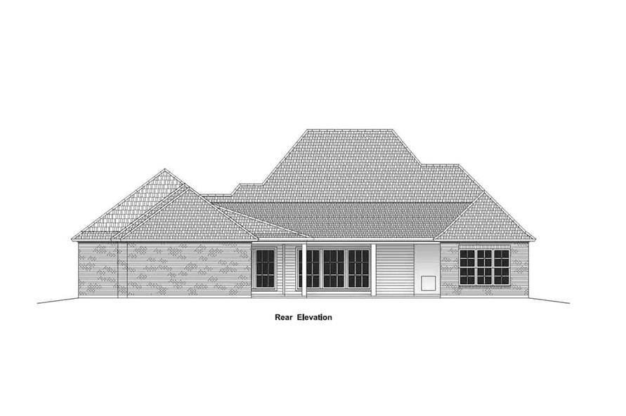 Home Plan Rear Elevation of this 4-Bedroom,2963 Sq Ft Plan -204-1014