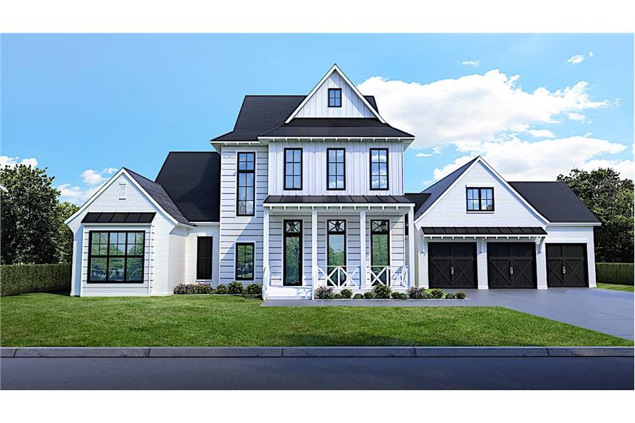 Front View of this 4-Bedroom,4443 Sq Ft Plan -204-1020