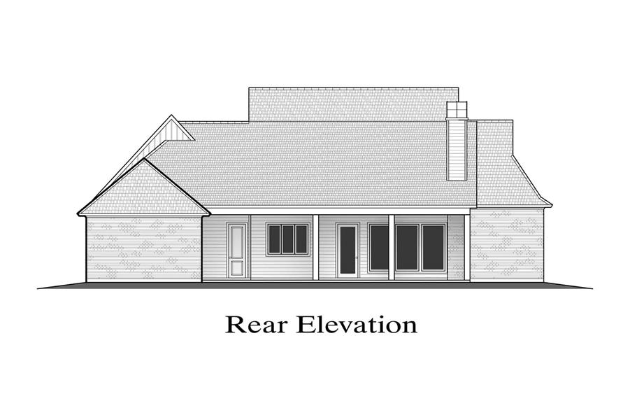 Home Plan Rear Elevation of this 4-Bedroom,2911 Sq Ft Plan -204-1023