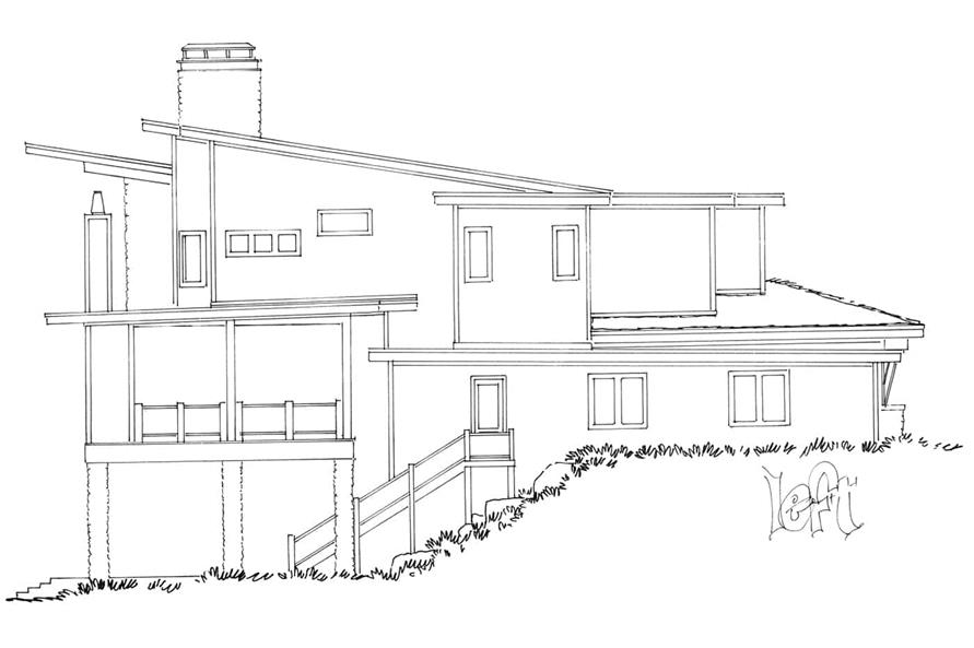 Home Plan Left Elevation of this 5-Bedroom,7419 Sq Ft Plan -205-1000