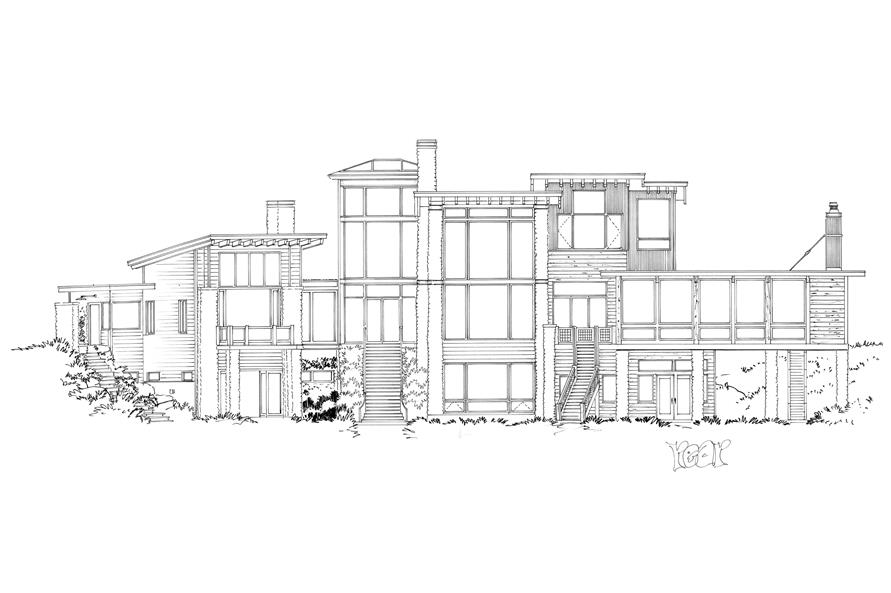 Home Plan Rear Elevation of this 5-Bedroom,7419 Sq Ft Plan -205-1000