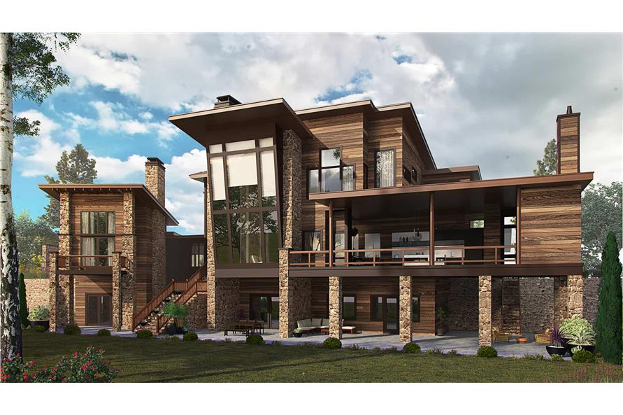 5-Bedroom, 7419 Sq Ft Modern House Plan - 205-1000 - Front Exterior