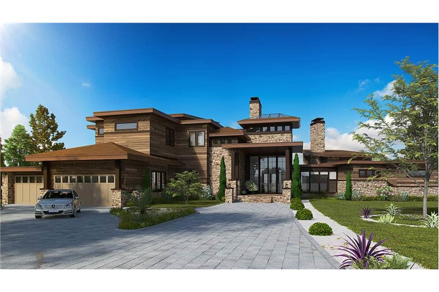 5-Bedroom, 7419 Sq Ft Contemporary House - Plan #205-1000 - Front Exterior