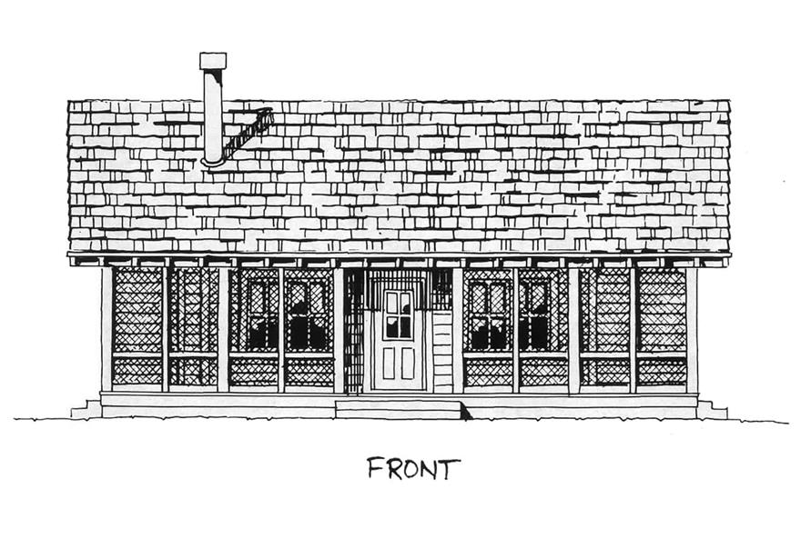 Home Plan Front Elevation of this 2-Bedroom,1031 Sq Ft Plan -205-1001