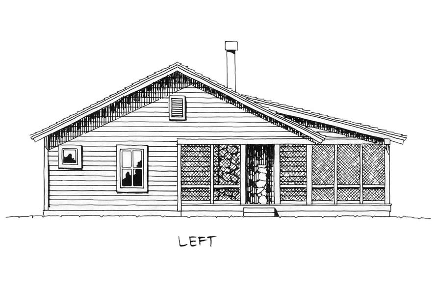 Home Plan Left Elevation of this 2-Bedroom,1031 Sq Ft Plan -205-1001
