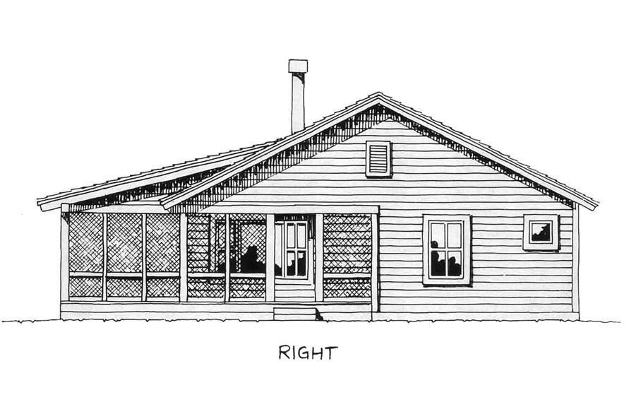 Home Plan Right Elevation of this 2-Bedroom,1031 Sq Ft Plan -205-1001