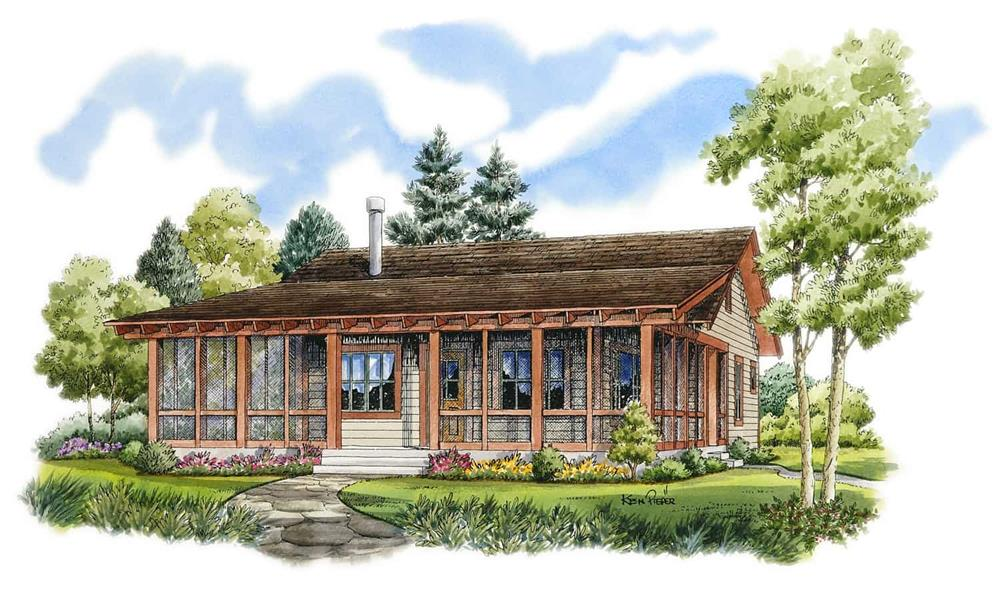 Cottage home (ThePlanCollection: Plan #205-1001)
