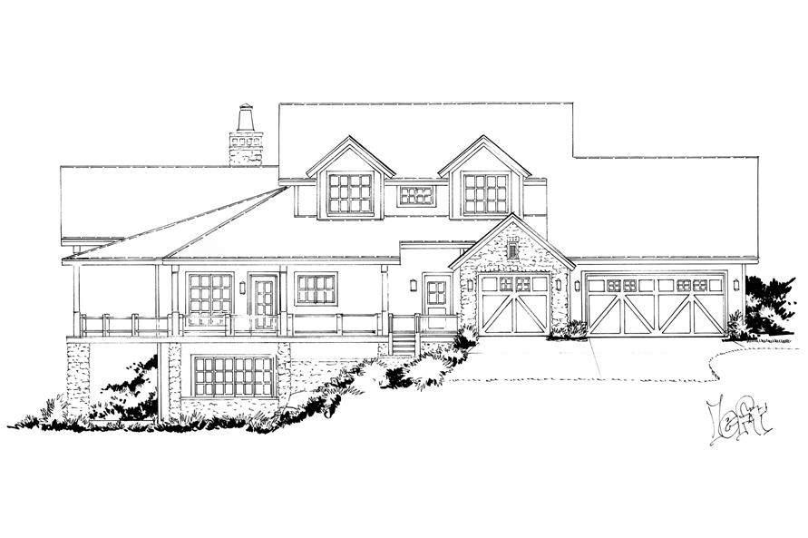 Home Plan Left Elevation of this 4-Bedroom,5069 Sq Ft Plan -205-1005