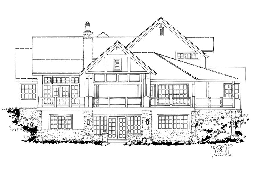 Home Plan Rear Elevation of this 4-Bedroom,5069 Sq Ft Plan -205-1005
