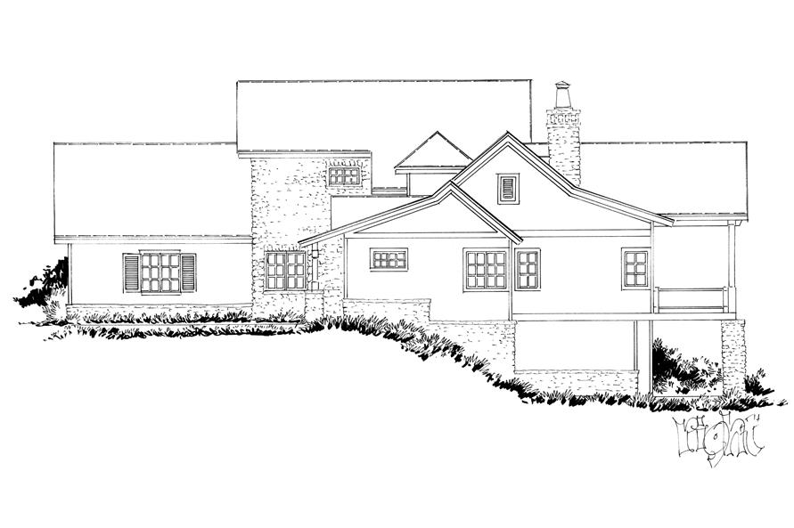 Home Plan Right Elevation of this 4-Bedroom,5069 Sq Ft Plan -205-1005