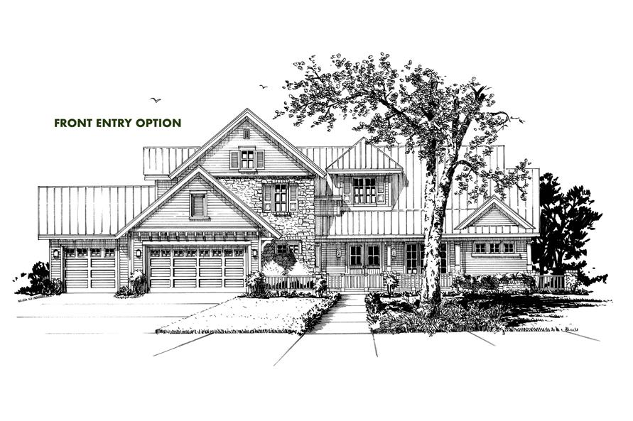 Home Plan Front Elevation of this 4-Bedroom,5069 Sq Ft Plan -205-1005