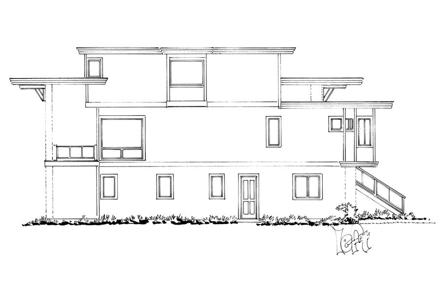 Home Plan Left Elevation of this 4-Bedroom,3230 Sq Ft Plan -205-1006