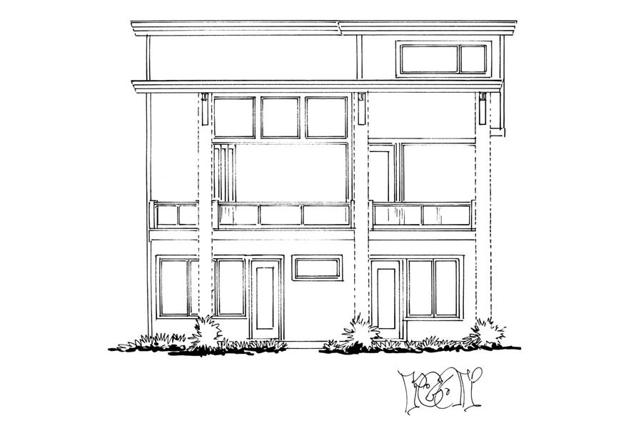 Home Plan Rear Elevation of this 4-Bedroom,3230 Sq Ft Plan -205-1006