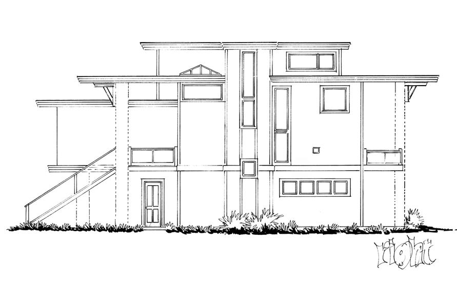 Home Plan Right Elevation of this 4-Bedroom,3230 Sq Ft Plan -205-1006