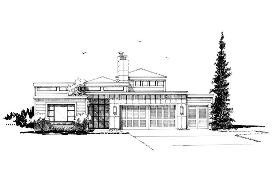 Home Plan Front Elevation of this 3-Bedroom,2090 Sq Ft Plan -205-1007