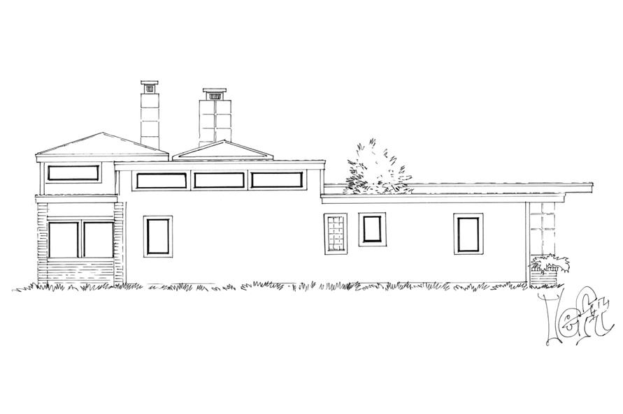 Home Plan Left Elevation of this 3-Bedroom,2090 Sq Ft Plan -205-1007