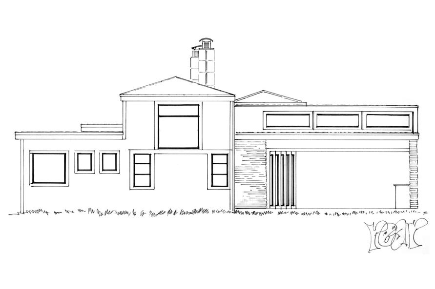 Home Plan Rear Elevation of this 3-Bedroom,2090 Sq Ft Plan -205-1007