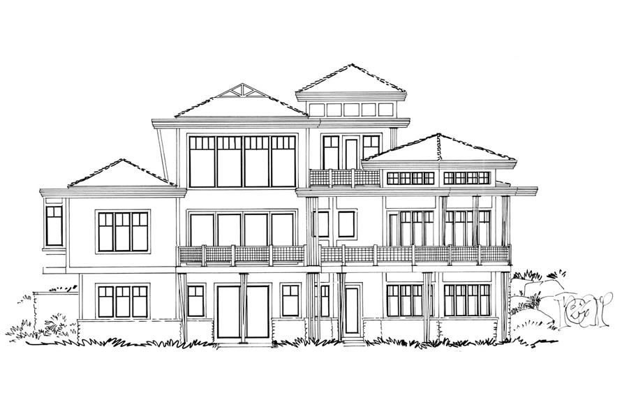 Home Plan Rear Elevation of this 4-Bedroom,4085 Sq Ft Plan -205-1008