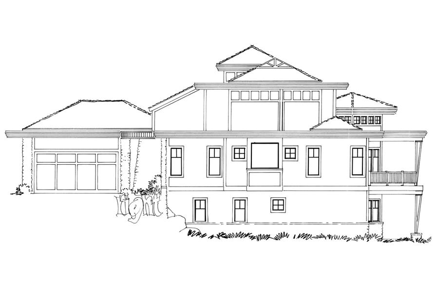 Home Plan Right Elevation of this 4-Bedroom,4085 Sq Ft Plan -205-1008