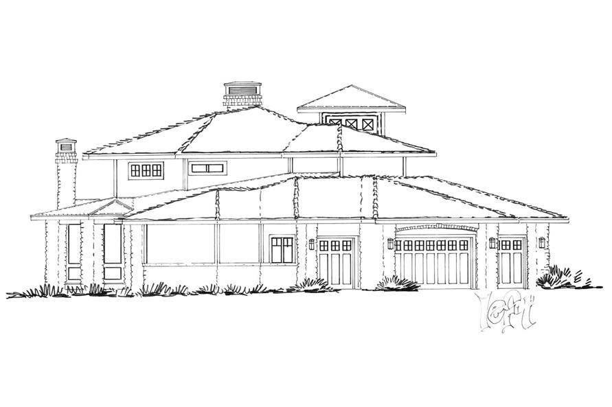 Home Plan Left Elevation of this 4-Bedroom,4520 Sq Ft Plan -205-1010