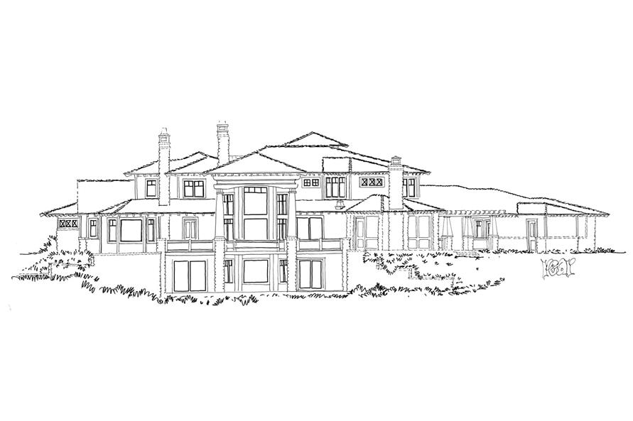 Home Plan Rear Elevation of this 4-Bedroom,4520 Sq Ft Plan -205-1010