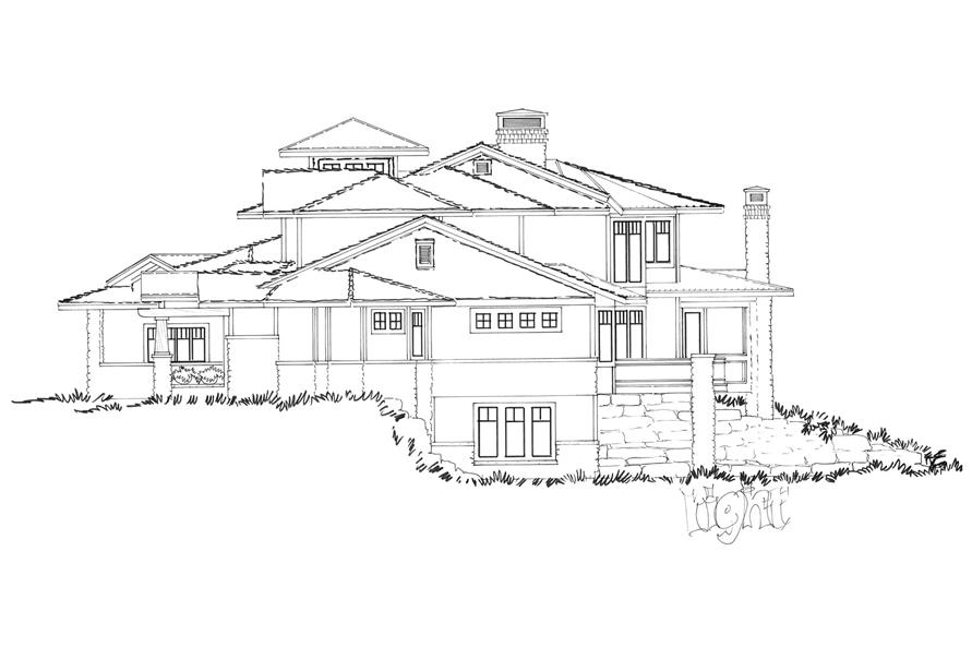Home Plan Right Elevation of this 4-Bedroom,4520 Sq Ft Plan -205-1010