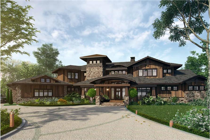 4-Bedroom, 4520 Sq Ft Prairie Style House - Plan #205-1010 - Front Exterior