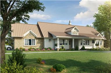 3-Bedroom, 2251 Sq Ft Ranch House - Plan #205-1014 - Front Exterior