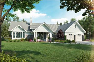 3-Bedroom, 2379 Sq Ft Transitional House Plan - 205-1016 - Front Exterior