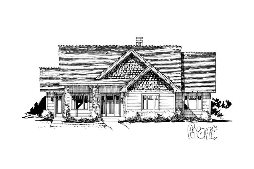 Home Plan Front Elevation of this 3-Bedroom,1416 Sq Ft Plan -205-1017